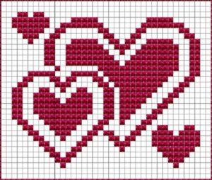 Рисунки по клеточкам три сердечка