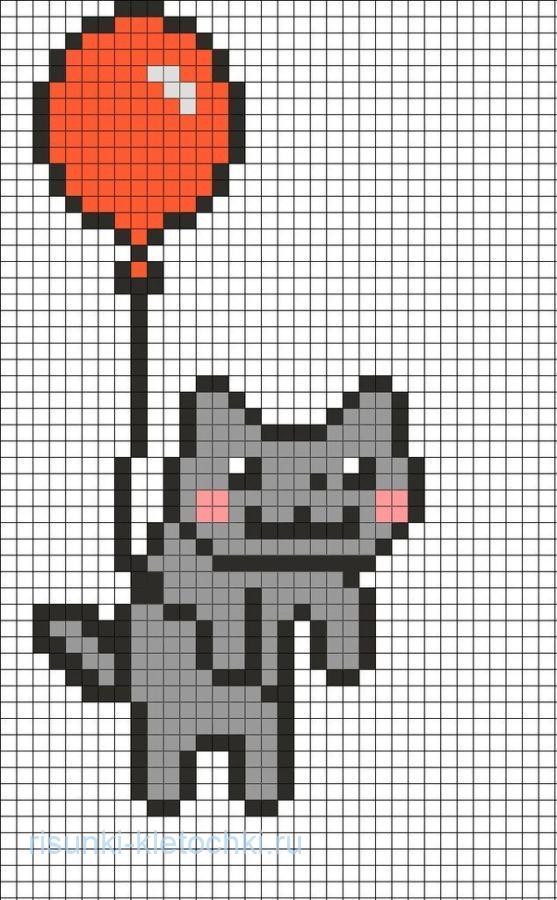 рисунки по клеточкам маленькие животные котик на шарике