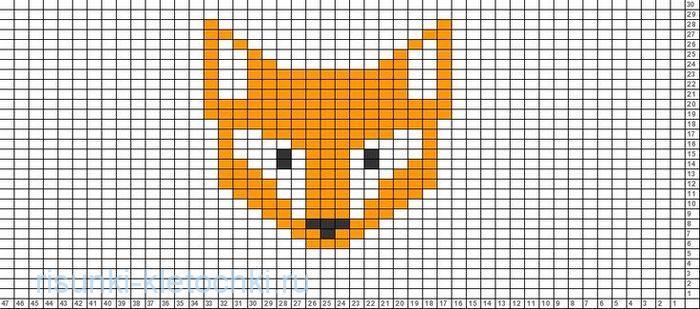 рисунки по клеточкам маленькие животные лиса