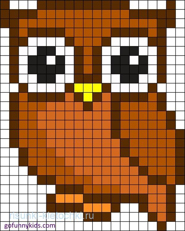 рисунки по клеточкам маленькие животные сова 2