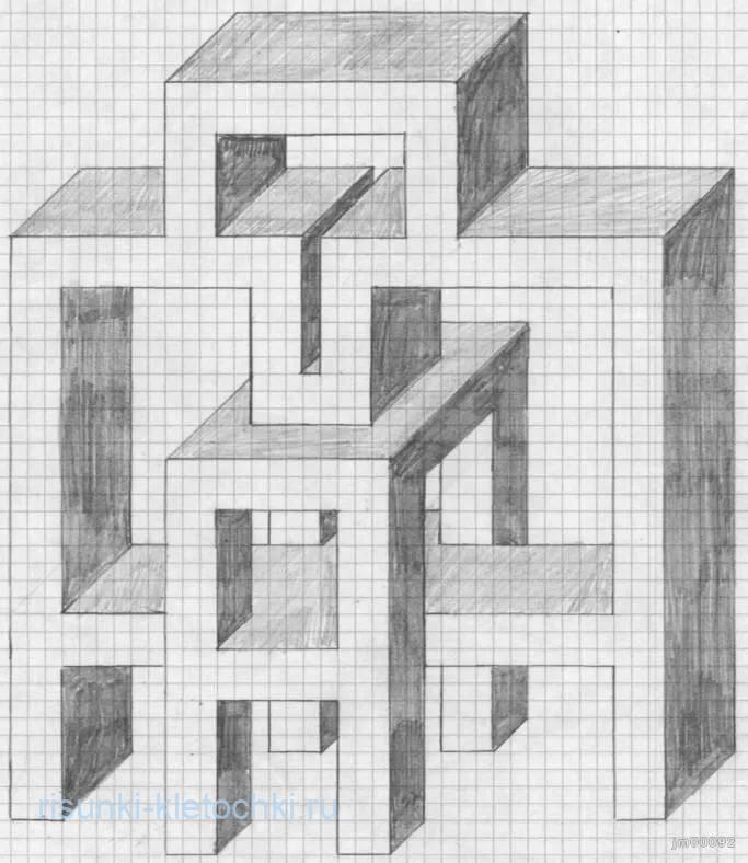 рисунки по клеточкам ручкой в тетради 3д