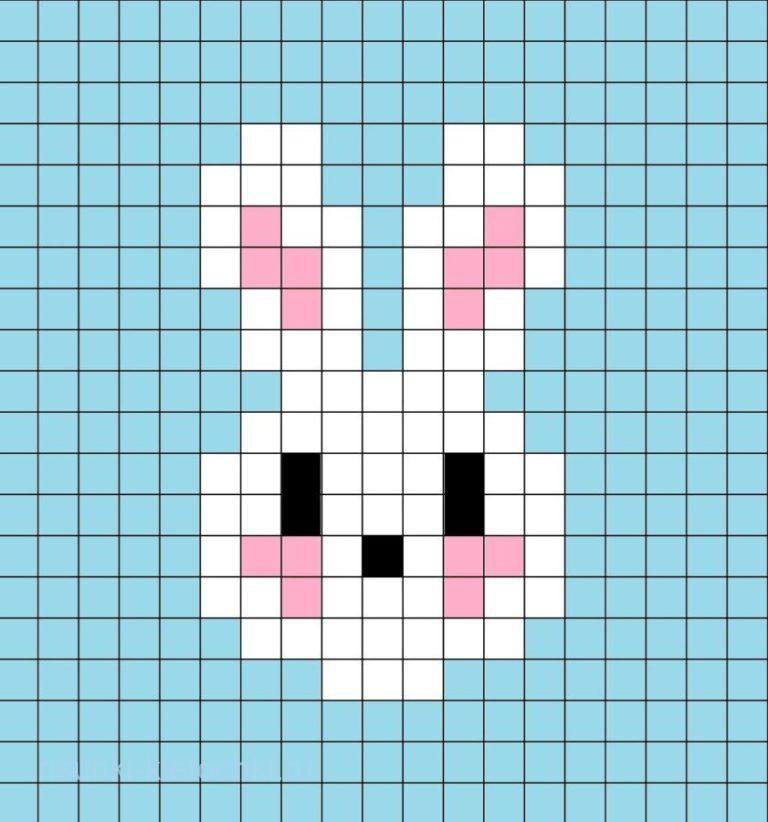 Очень маленькие рисунки по клеточкам - зайчик