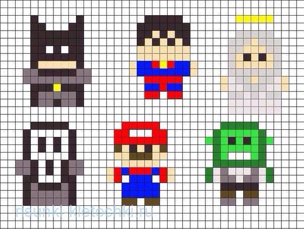 Очень маленькие рисунки по клеточкам - суепргерои, Бэтман, Марио