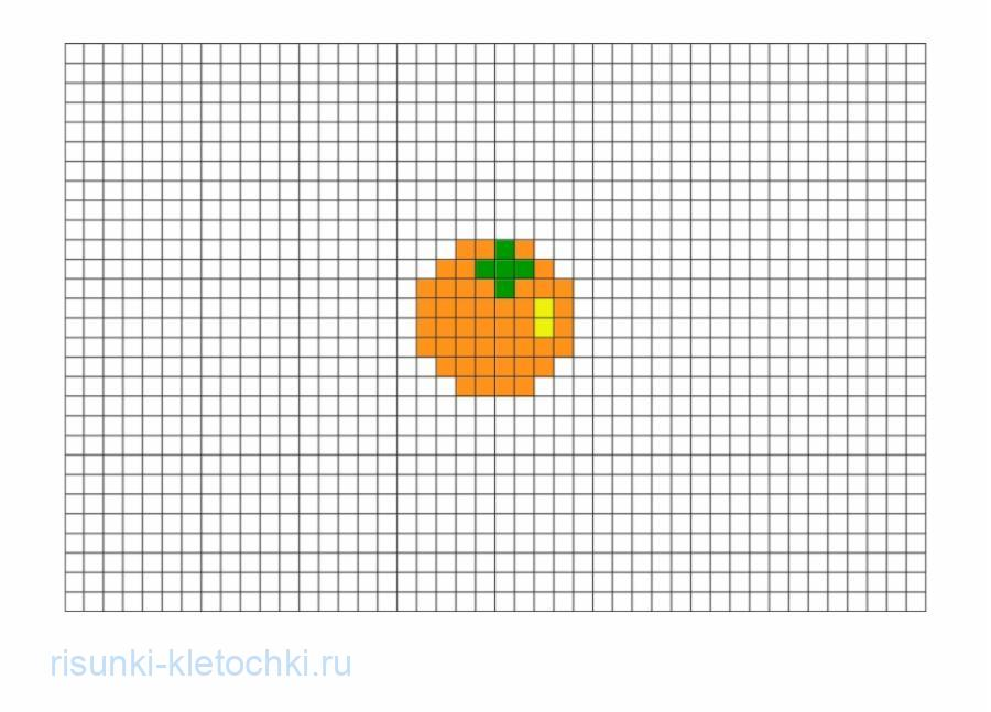 Очень маленькие рисунки по клеточкам - апельсин