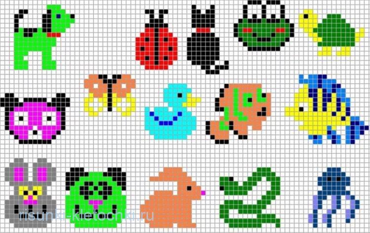 Очень маленькие рисунки по клеточкам - букашки, уточки, змея, заяц