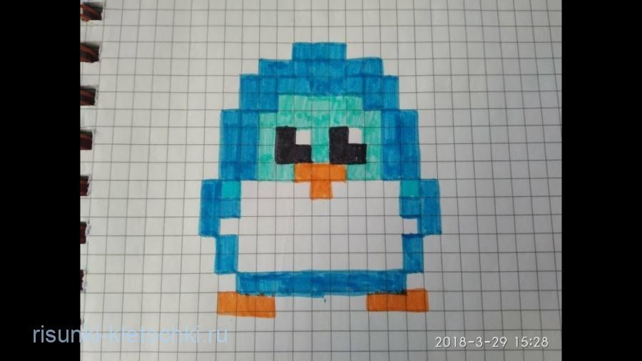 Рисунки по клеточкам новый год 2021 - пингвин