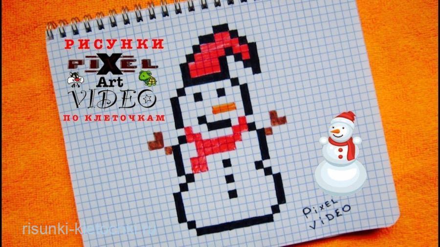 Рисунки по клеточкам новый год 2021 - снеговик