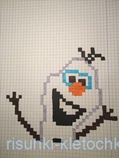 Рисунки по клеточкам новый год 2021 - снеговик из холодного сердца