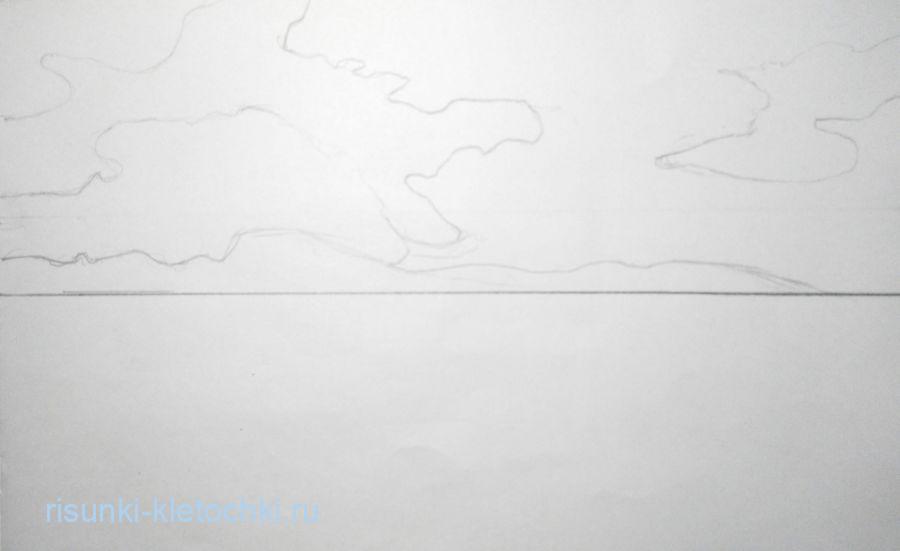 Как нарисовать пейзаж море