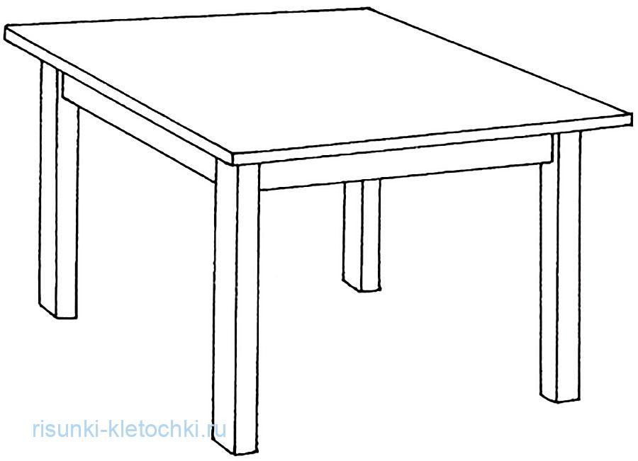 Раскараска для детей стол квадратный