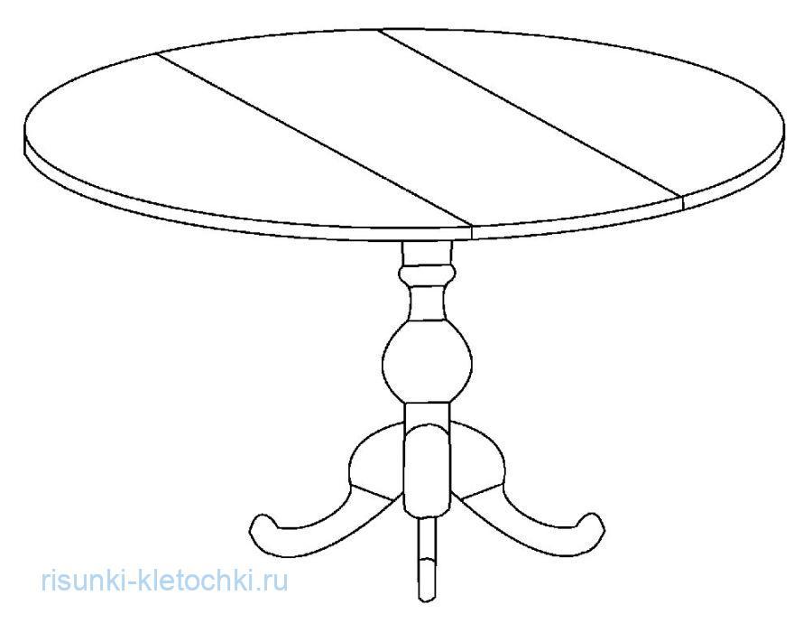 Раскраска для детей стол круглый
