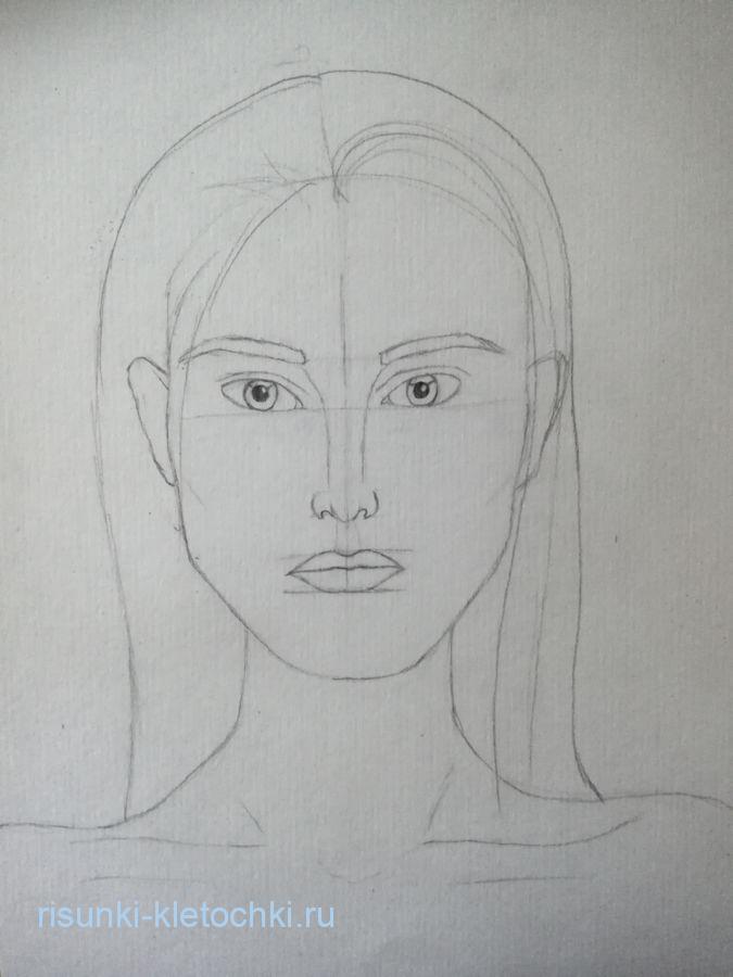 Как нарисовать лицо девушки карандашом , поэтапно