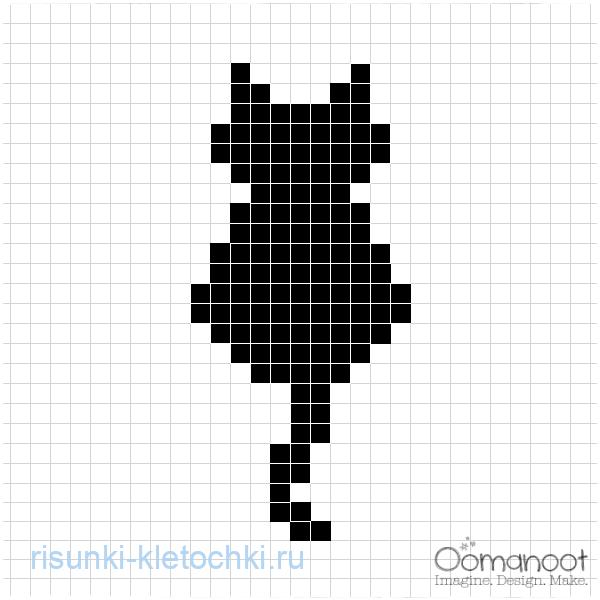 Рисунки по клеточкам черно-белые и маленькие - Силуэт котика