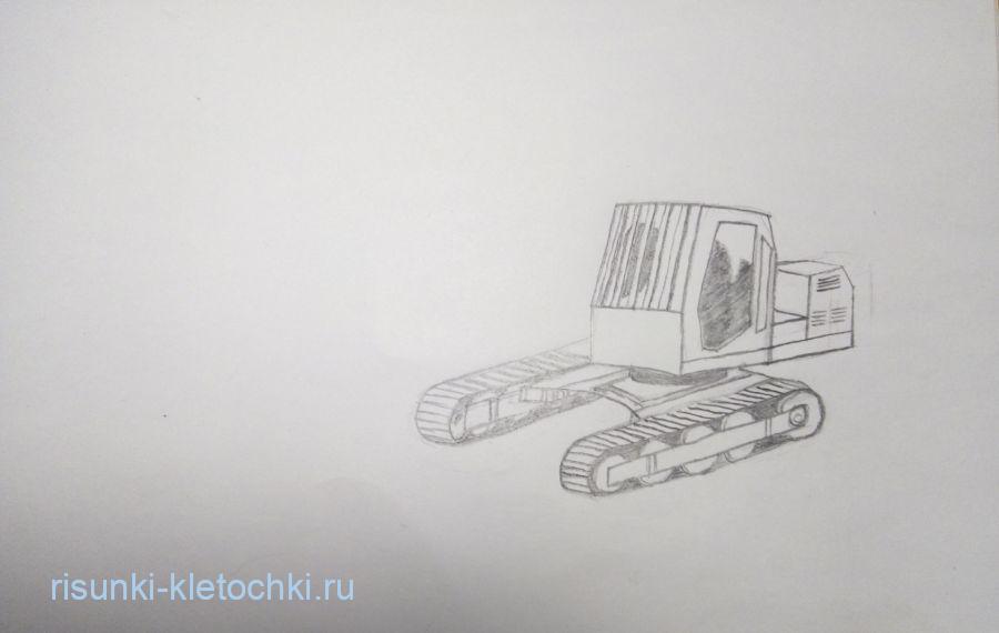 Как нарисовать экскаватор поэтапно карандашом новичку
